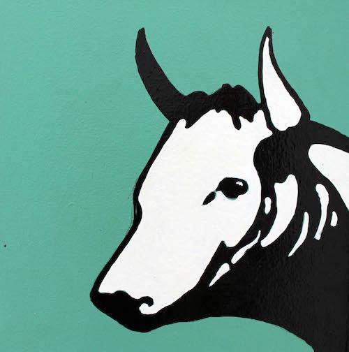 Pop art cow acrylic and enamel